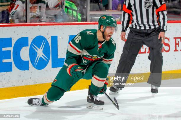 Jason Zucker of the Minnesota Wild celebrates after scoring a goal against the Ottawa Senators during the game at the Xcel Energy Center on January...