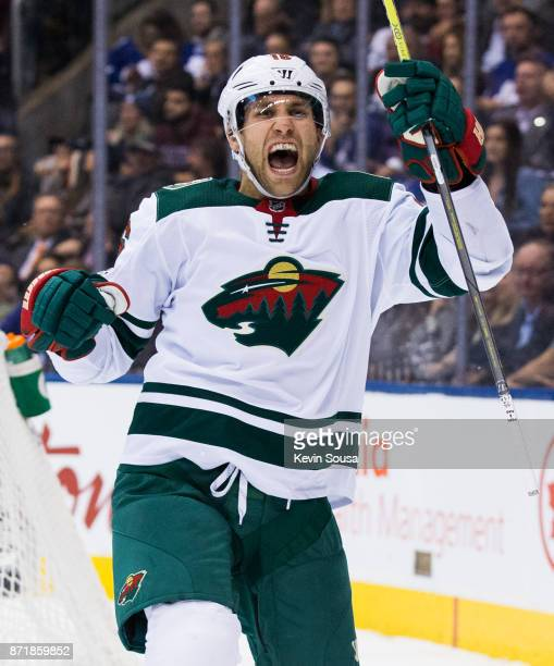 Jason Zucker of the Minnesota Wild celebrates after scoring on the Toronto Maple Leafs during the first period at the Air Canada Centre on November 8...