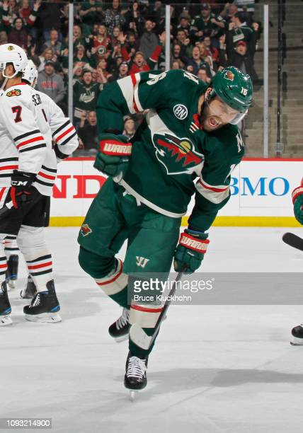 Jason Zucker of the Minnesota Wild celebrates his 1st period power play goal during a game with the Chicago Blackhawks at Xcel Energy Center on...