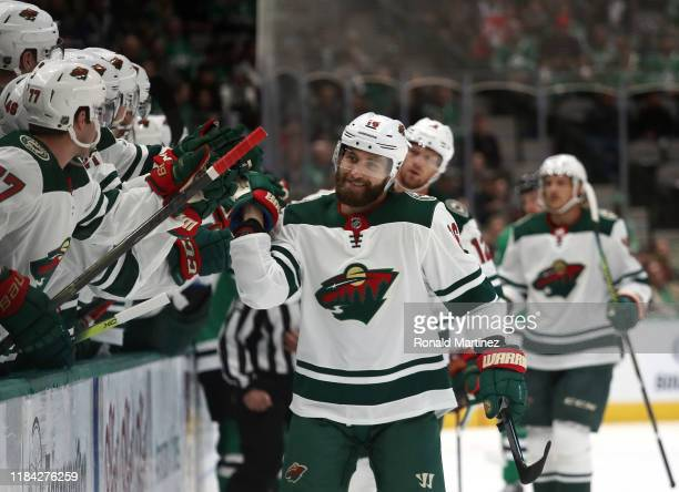 Jason Zucker of the Minnesota Wild celebrates his goal against the Dallas Stars in the first period at American Airlines Center on October 29, 2019...