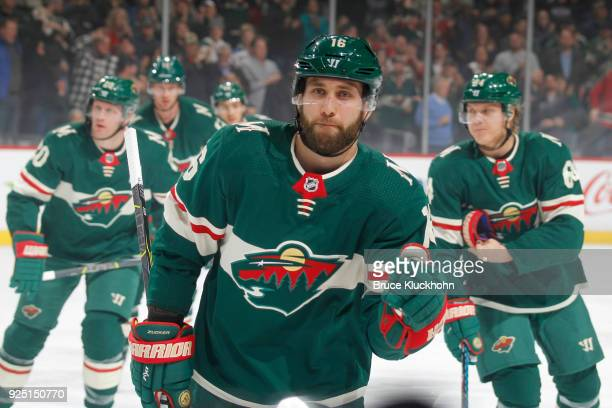 Jason Zucker of the Minnesota Wild celebrates his goal against the St Louis Blues during the game at the Xcel Energy Center on February 27 2018 in St...