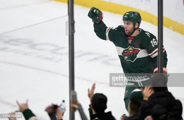 Jason Zucker of the Minnesota Wild celebrates scoring a goal against the Edmonton Oilers during the first period of the game at Xcel Energy Center on...