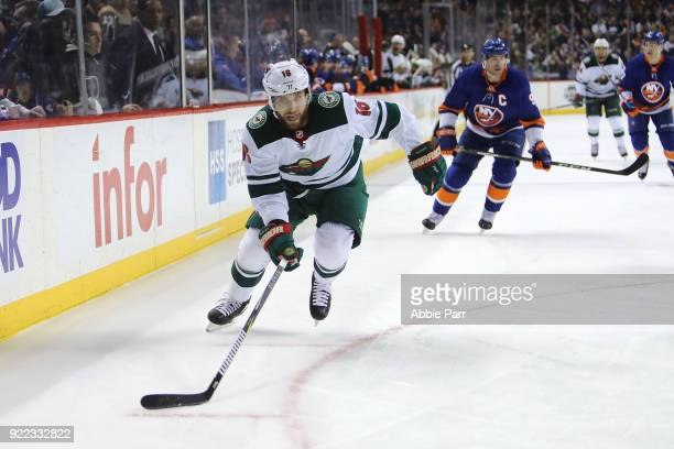 Jason Zucker of the Minnesota Wild chases the puck in the first period against the New York Islanders during their game at Barclays Center on...
