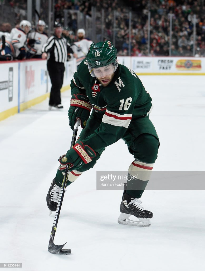 Jason Zucker #16 of the Minnesota Wild controls the puck against the Edmonton Oilers during the first period of the game on April 2, 2018 at Xcel Energy Center in St Paul, Minnesota. The Wild defeated the Oilers 3-0.