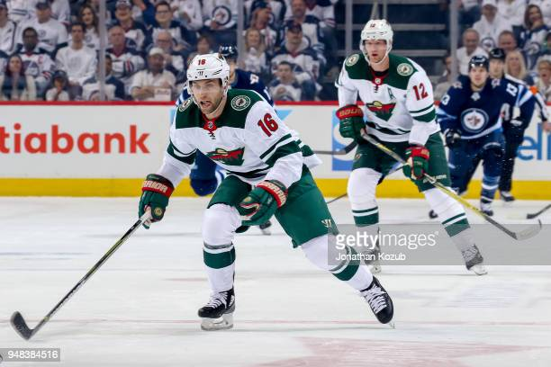 Jason Zucker of the Minnesota Wild follows the play down the ice during first period action against the Winnipeg Jets in Game Two of the Western...