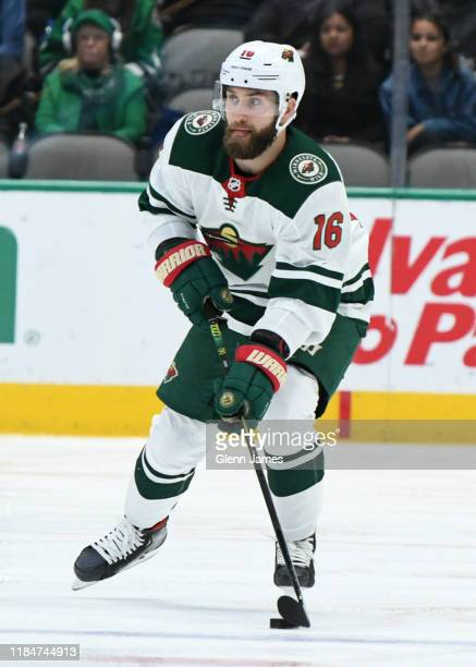 Jason Zucker of the Minnesota Wild handles the puck against the Dallas Stars at the American Airlines Center on October 29, 2019 in Dallas, Texas.