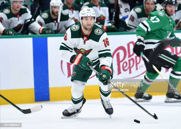 Jason Zucker of the Minnesota Wild handles the puck against the Dallas Stars at the American Airlines Center on February 7, 2020 in Dallas, Texas.