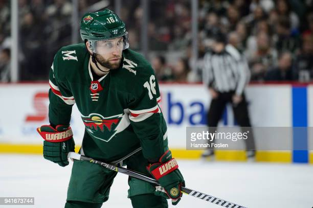 Jason Zucker of the Minnesota Wild looks on before a faceoff against the Edmonton Oilers during the game on April 2 2018 at Xcel Energy Center in St...