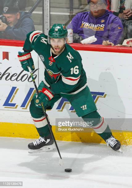 Jason Zucker of the Minnesota Wild looks to pass during a game with the Columbus Blue Jackets at Xcel Energy Center on January 19, 2019 in St. Paul,...