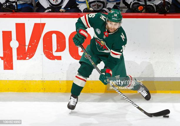 Jason Zucker of the Minnesota Wild makes a pass during a game with the Winnipeg Jets at Xcel Energy Center on November 23, 2018 in St. Paul,...