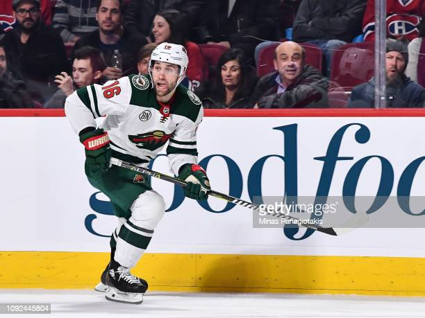 Jason Zucker of the Minnesota Wild skates against the Montreal Canadiens during the NHL game at the Bell Centre on January 7 2019 in Montreal Quebec...