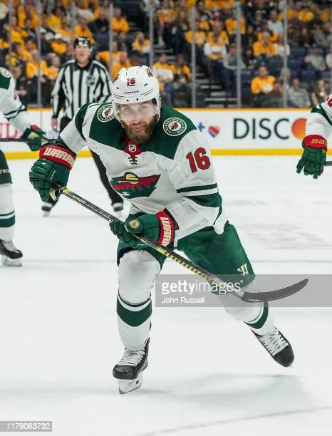 Jason Zucker of the Minnesota Wild skates against the Nashville Predators at Bridgestone Arena on October 3, 2019 in Nashville, Tennessee.