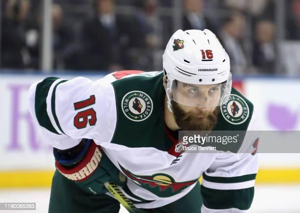 Jason Zucker of the Minnesota Wild skates against the New York Rangers at Madison Square Garden on November 25, 2019 in New York City. The Rangers...
