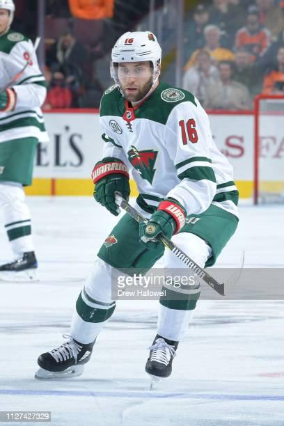 Jason Zucker of the Minnesota Wild skates against the Philadelphia Flyers at Wells Fargo Center on January 14, 2019 in Philadelphia, Pennsylvania.