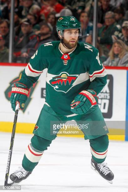 Jason Zucker of the Minnesota Wild skates against the San Jose Sharks during the game at the Xcel Energy Center on February 25 2018 in St Paul...