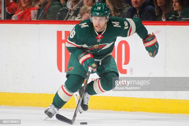Jason Zucker of the Minnesota Wild skates with the puck against the Detroit Red Wings during the game at the Xcel Energy Center on March 4 2018 in St...