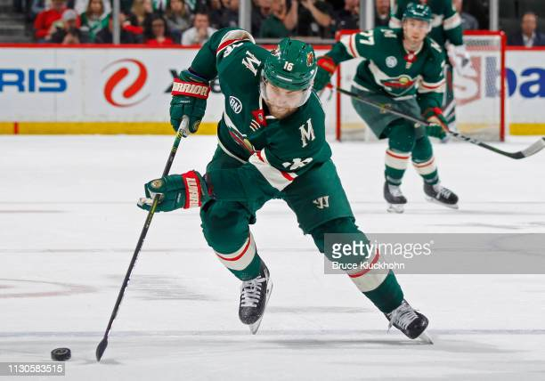 Jason Zucker of the Minnesota Wild skates with the puck during a game with the Dallas Stars at Xcel Energy Center on March 14, 2019 in St. Paul,...