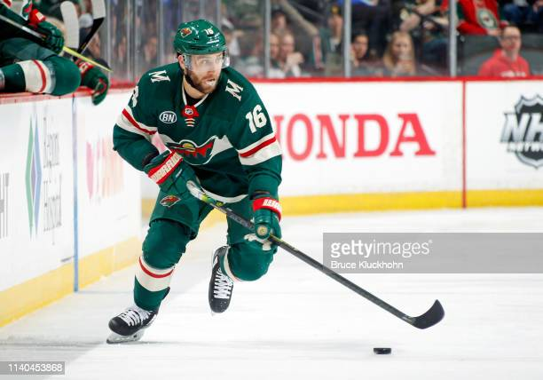 Jason Zucker of the Minnesota Wild skates with the puck during a game with the Nashville Predators at Xcel Energy Center on March 25, 2019 in St....