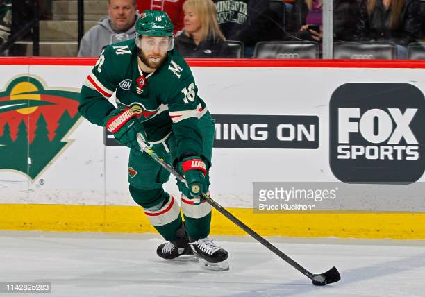 Jason Zucker of the Minnesota Wild skates with the puck during a game with the Boston Bruins at Xcel Energy Center on April 4, 2019 in St. Paul,...