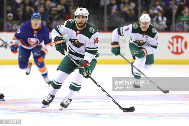 Jason Zucker of the Minnesota Wild skates with the puck in the first period against the New York Islanders during their game at Barclays Center on...