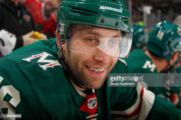 Jason Zucker of the Minnesota Wild watches from the bench during the game against the Chicago Blackhawks at the Xcel Energy Center on February 4,...