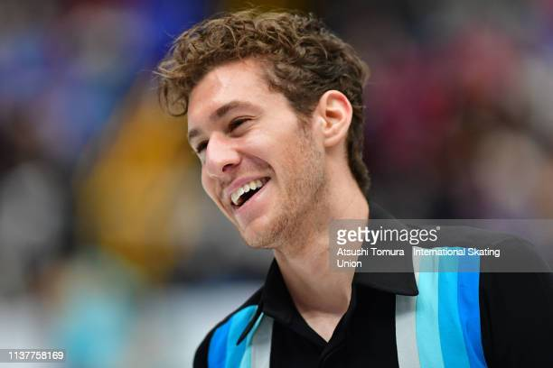 JasonBrown of the United States reacts after competing in the Men Free Skating on day four of the 2019 ISU World Figure Skating Championships at...