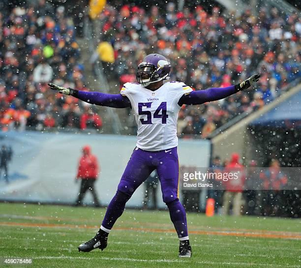 Jasper Brinkley of the Minnesota Vikings reacts to a missed field goal by the Chicago Bears during the first quarter on November 16 2014 at Soldier...