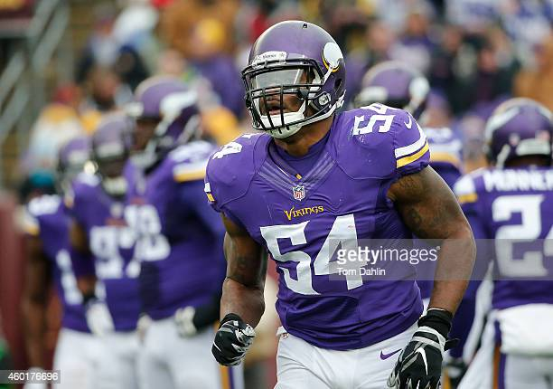 Jasper Brinkley of the Minnesota Vikings runs off the field during an NFL game against the New York Jets at TCF Stadium on December 7 2014 in...