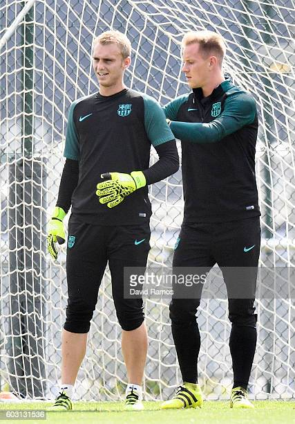 Jasper Cillessen and MarcAndre ter Stegen of FC Barcelona in action during a training session ahead of their UEFA Champions League Group C match...