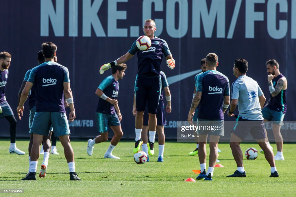 Jasper Cillessen from Holland during the first FC Barcelona training session of the 2018/2019 La Liga pre season in Ciutat Esportiva Joan Gamper, Barcelona on 11 of July of 2018.