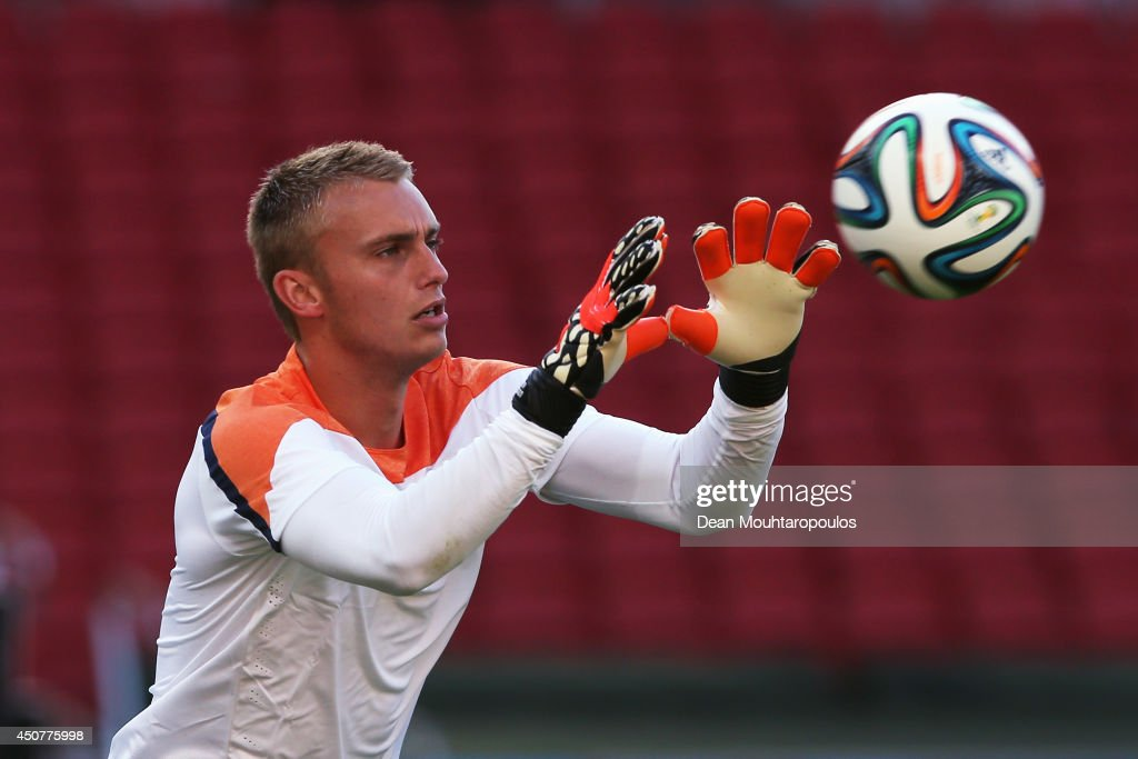 Jasper Cillessen in action during the Netherlands training session at the 2014 FIFA World Cup Brazil held at the Estadio Beira-Rio on June 17, 2014 in Porto Alegre, Brazil.
