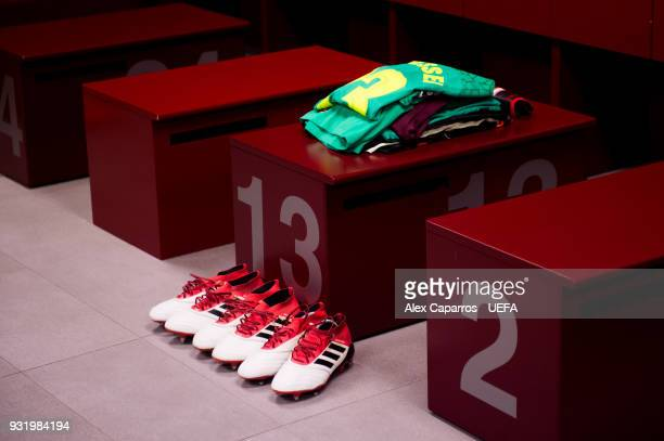 Jasper Cillessen kit and boots are seen in the FC Barcelona dressing room before the UEFA Champions League Round of 16 Second Leg match between FC...