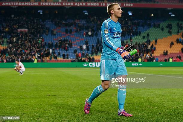 Jasper Cillessen of Ajax during the Dutch Eredivisie match between Ajax Amsterdam and AZ Alkmaar at the Amsterdam Arena on February 5 2015 in...