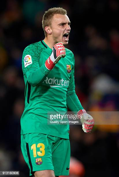 Jasper Cillessen of Barcelona celebrates during the Copa del Rey semifinal first leg match between FC Barcelona and Valencia CF at Camp Nou on...