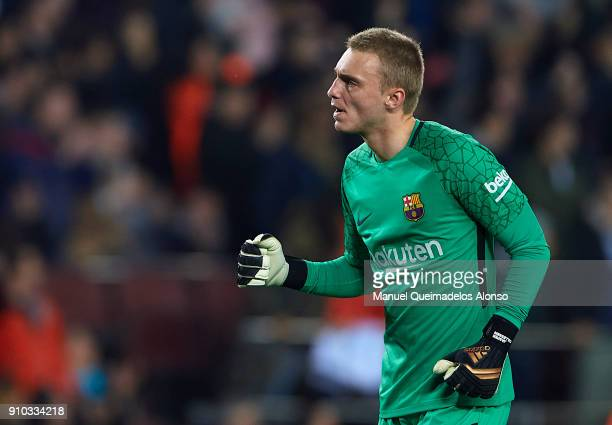 Jasper Cillessen of Barcelona celebrates during the Spanish Copa del Rey Quarter Final Second Leg match between Barcelona and Espanyol at Camp Nou on...