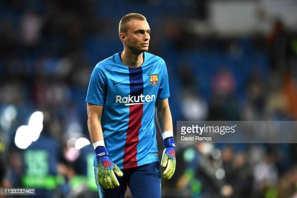 Jasper Cillessen of Barcelona during the La Liga match between Real Madrid CF and FC Barcelona at Estadio Santiago Bernabeu on March 02 2019 in...