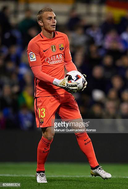 Jasper Cillessen of Barcelona in action during the La Copa del Rey first leg match between Hercules CF and FC Barcelona at Jose Rico Perez on...