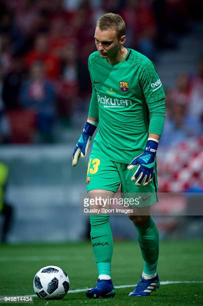 Jasper Cillessen of Barcelona in action during the Spanish Copa del Rey Final match between Barcelona and Sevilla at Wanda Metropolitano on April 21...