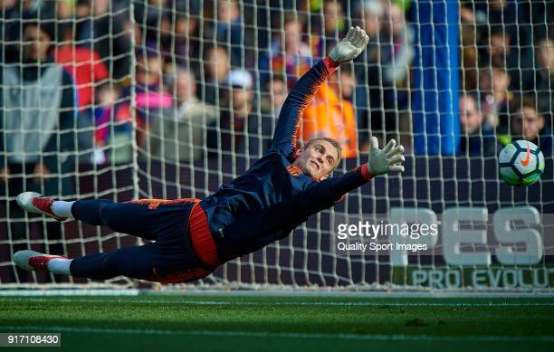 Jasper Cillessen of Barcelona in action prior the La Liga match between Barcelona and Getafe at Camp Nou on February 11 2018 in Barcelona Spain