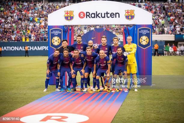 Jasper Cillessen of Barcelona Javier Mascherano of Barcelona Lucas Digne of Barcelona Gerard Pique of Barcelona Aleix Vidal of Barcelona Sergi Samper...