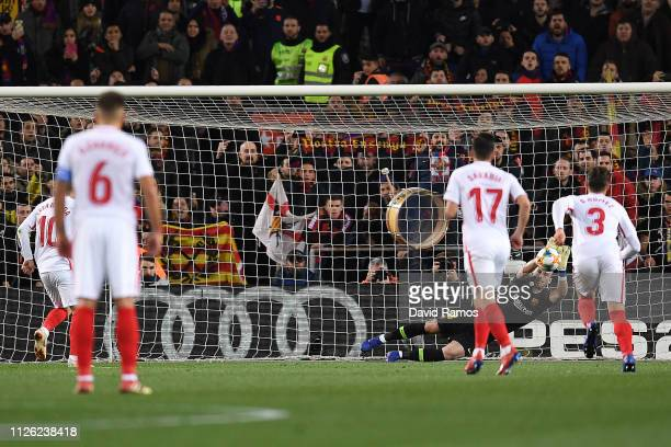 Jasper Cillessen of Barcelona saves a penalty from Ever Banega of Sevilla during the Copa del Rey Quarter Final second leg match between FC Barcelona...