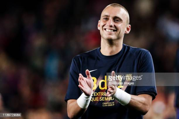 Jasper Cillessen of FC Barcelona celebrate the Championship during the Spanish Copa del Rey match between FC Barcelona v Levante at the Camp Nou on...