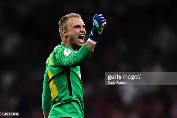 Jasper Cillessen of FC Barcelona celebrates after Luis Suarez of FC Barcelona scored the opening goal during the Spanish Copa del Rey Final match...