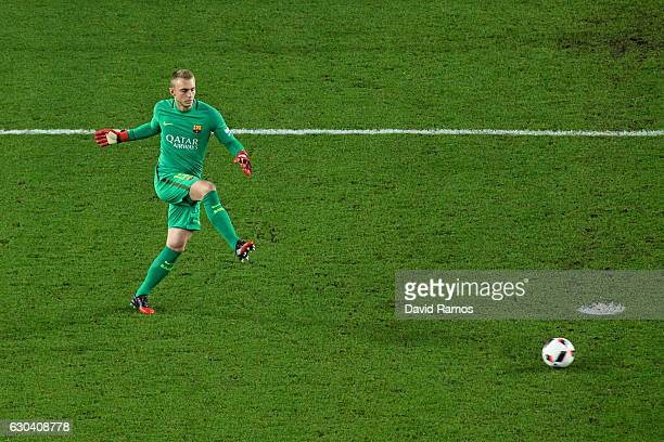 Jasper Cillessen of FC Barcelona in action during the Copa del Rey round of 32 second leg match between FC Barcelona and Hercules at Camp Nou on...