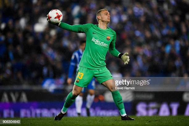 Jasper Cillessen of FC Barcelona in action during the Copa del Rey Quarter Final Firs Leg match between Espanyol and FC Barcelona at Nuevo Estadio de...