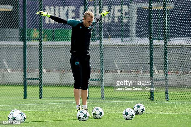 Jasper Cillessen of FC Barcelona in action during the training session at the Sports Center FC Barcelona Joan Gamper before the Champions League...