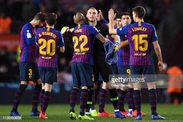 Jasper Cillessen of FC Barcelona is congratulated by his team mates at end of the Copa del Quarter Final match between FC Barcelona and Sevilla FC at...