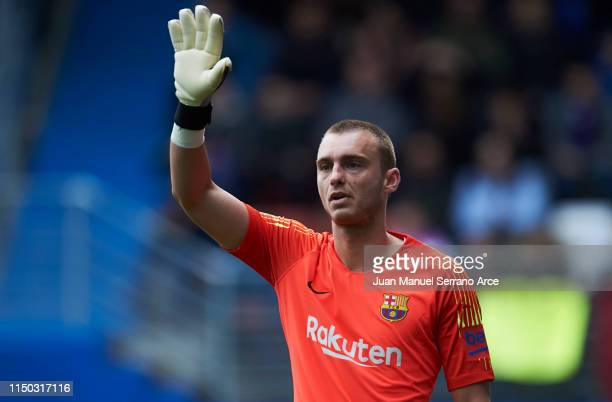 Jasper Cillessen of FC Barcelona reacts during the La Liga match between SD Eibar and FC Barcelona at Ipurua Municipal Stadium on May 19 2019 in...