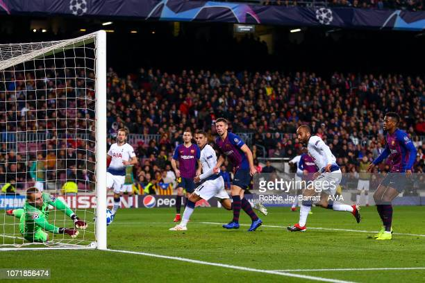 Jasper Cillessen of FC Barcelona saves from Lucas Moura of Tottenham Hotspur during the UEFA Champions League Group B match between FC Barcelona and...
