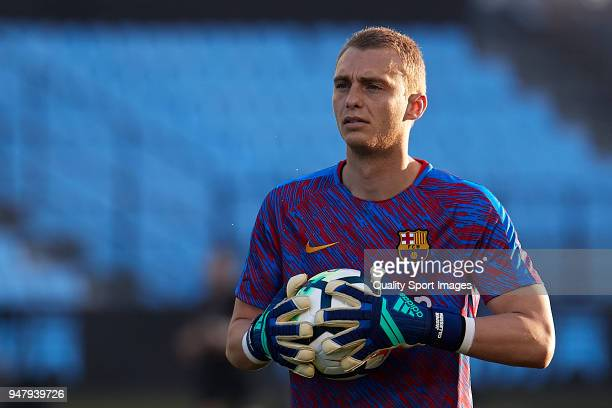 Jasper Cillessen of FC Barcelona warms up prior to the La Liga match between Celta de Vigo and Barcelona at Balaidos Stadium on April 17 2018 in Vigo...